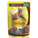 Friskies для кошек кусочки в подливе с мясом и зеленой фасолью 100 г