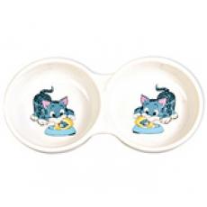 Миска двойная керамическая для кота Трикси \код 24798\