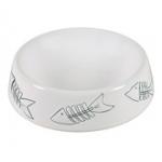 Миска керамическая белая с рыбками для кота Трикси \код 24496\